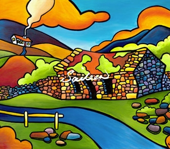 Bofin Bothy west of ireland cottage painting by saileen drumm artist