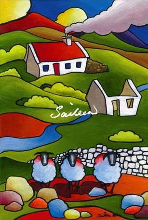 Ewe Ewe & Ewe sheep painting by saileen d art