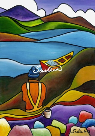 Fishing Lyons acrylic painting by Saileen Drumm